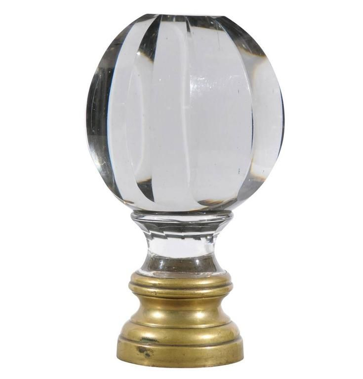 Napoleon Lll Crystal And Brass Bannister Finial From France, Circa 1880.  Newel ...