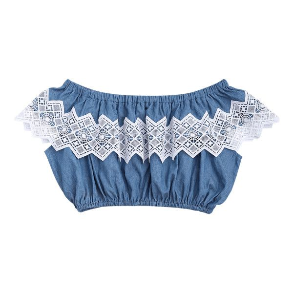 Lace Panel Off Shoulder Cropped Top (219.730 IDR) ❤ liked on Polyvore featuring tops, cropped tops, denim top, denim off the shoulder top, off shoulder crop top and denim crop top