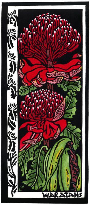 Waratah - Linocut (hand coloured) by Lynette Weir