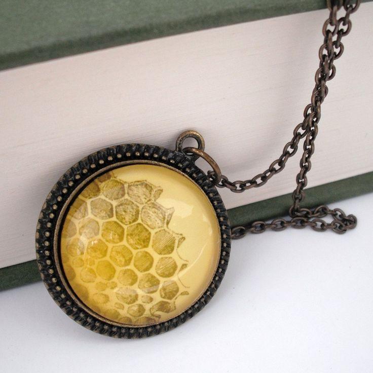 Honeycomb Natural History Pendant Necklace Honey Bee. $35.00 USD, via Etsy.
