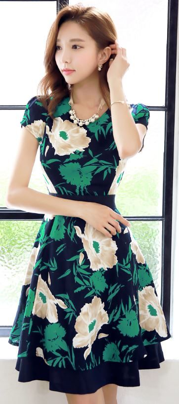StyleOnme_Floral Print Cotton Linen Blend Short Sleeve Dress #flower #floral #green #print #dress #korean #fashion #feminine #style #elegant #summer #trend