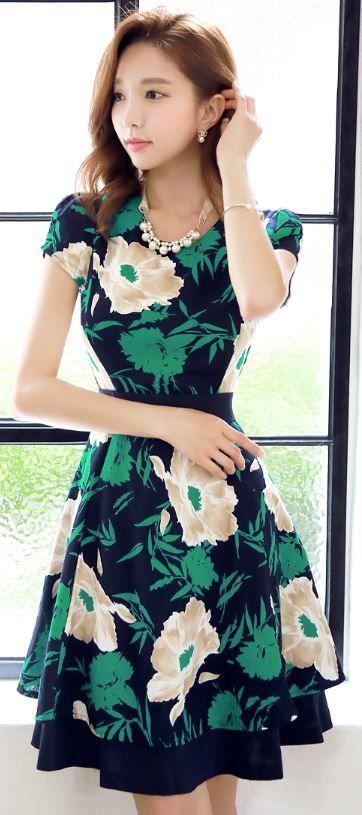 StyleOnme_Floral Print Cotton Linen Blend Short Sleeve Dress #flower #floral…