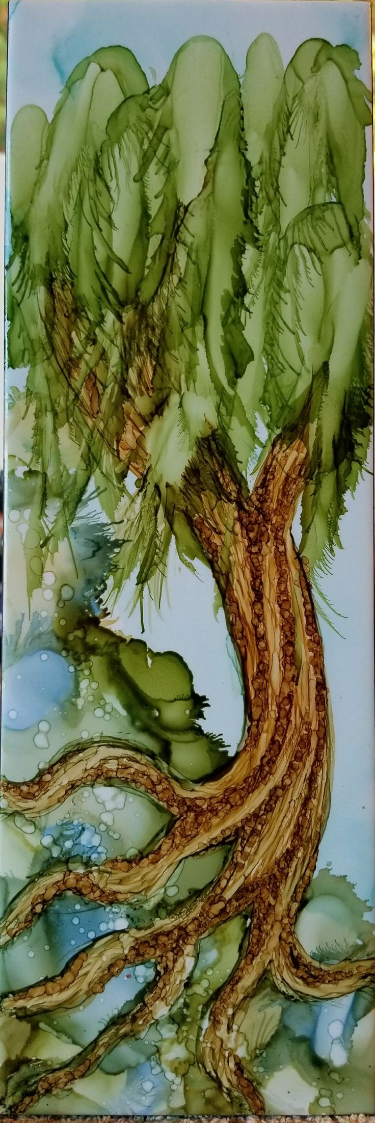 Tree in alcohol ink on long 12x4 ceramic tile by Tina