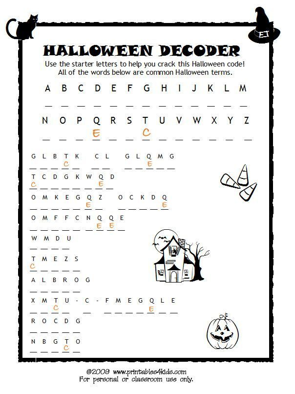 Halloween Code Breaker, Cryptoquiz, Brain Teaser : Printables for Kids – free word search puzzles, coloring pages, and other activities
