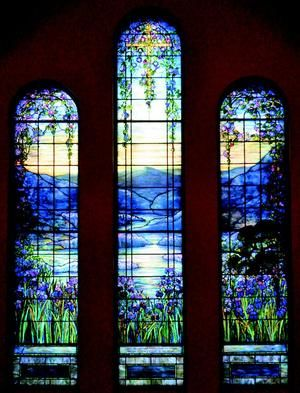 Gorgeous iris windows by Louis C. Tiffany at the Theodore Parker Unitarian Universalist Church, West Roxbury MA