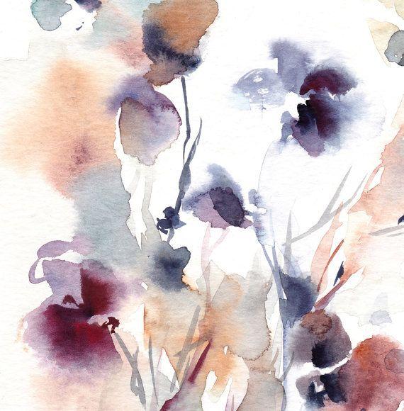 Art abstrait floral print aquarelle de fleurs par CanotStopPrints