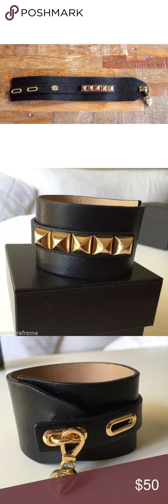 Juicy Couture Leather Bracelet w/ Removable Charm Up for sale is a Juicy Couture You Keep me Hangin on black leather cuff bracelet with gold pyramid studs and one removable heart charm / pendant.  Retail: $98  Sold out everywhere! Juicy Couture Jewelry Bracelets