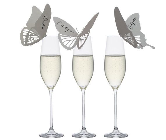 Butterfly Place Cards - wine glass, champagne glass, handmade, stylish, tasteful, sophisticated, chic, smart, modish, refined, escort card
