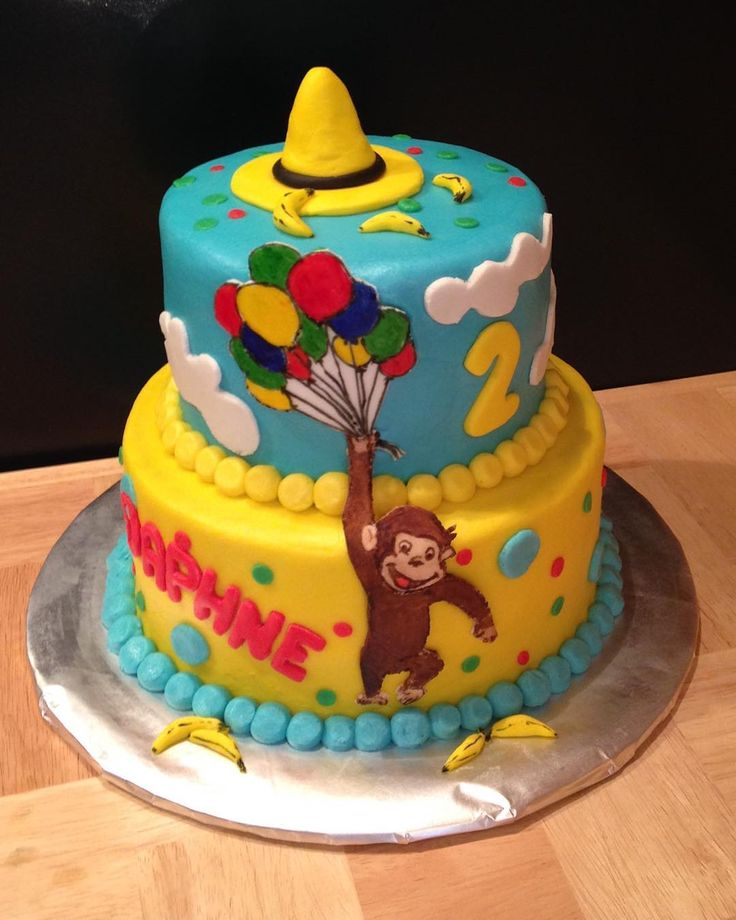 Curious George cake #manintheyellowhat #curiousgeorge #bananas #balloons…
