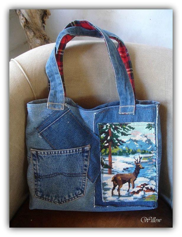Sac en jeans et canevas recyclés                                                                                                                                                                                 Plus