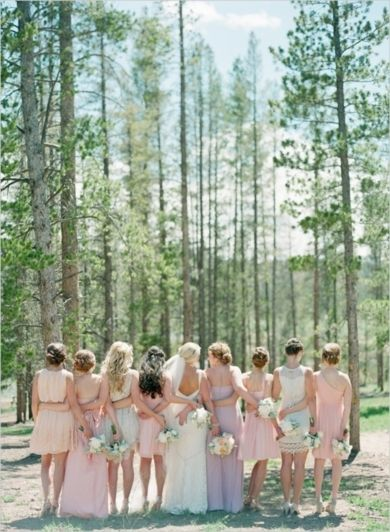 Bridesmaids in blush and ivory with the bride! | Elegantly Rustic Wedding at Devils Thumb Ranch on Wedding Chicks — Loverly Weddings