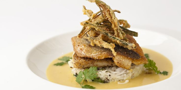 Grilled sea bass, crisp okra fingers, coconut rice and dhal sauce