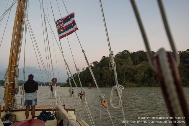 Making our way through Lake Gatun at dusk.