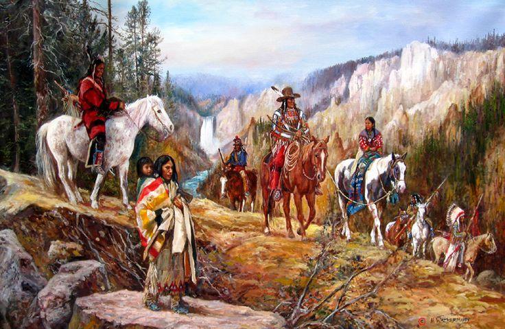 Náčelník Joseph a Propíchnuté nosy na útěku před americkou armádou v podání malíře Huberta Wackermanna.