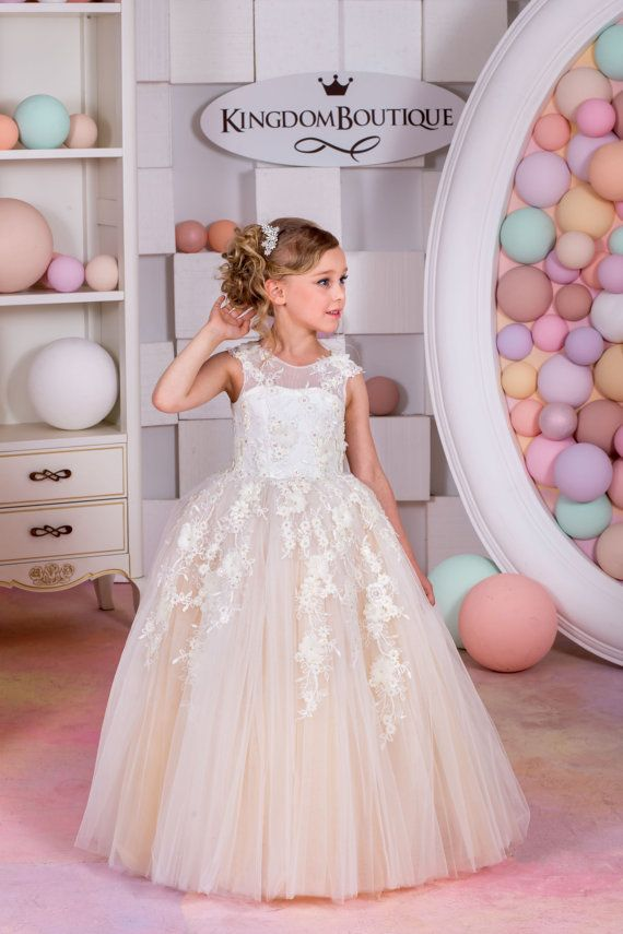 Unique Ivory and Blush Tulle Flower Girl Dress Birthday Wedding Party Holiday Bridesmaid Ivory and Blush Tulle Flower Girl Dress