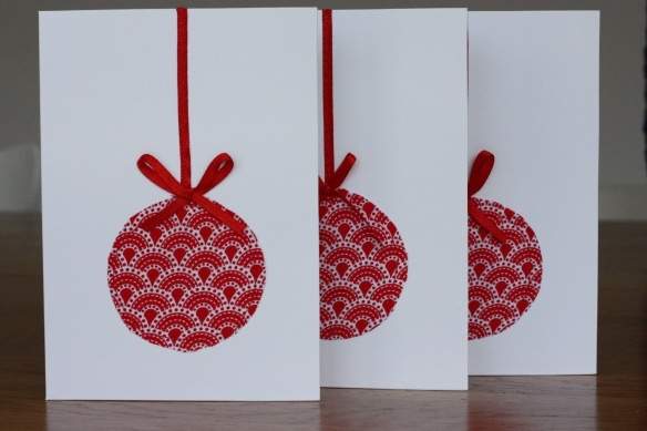 Homemade Christmas cards - baubles