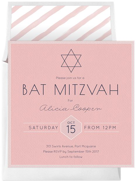 Pink Bat Mitzvah Invitations | Simple Bat Mitzvah by Claudia Owen | Greenvelope.com
