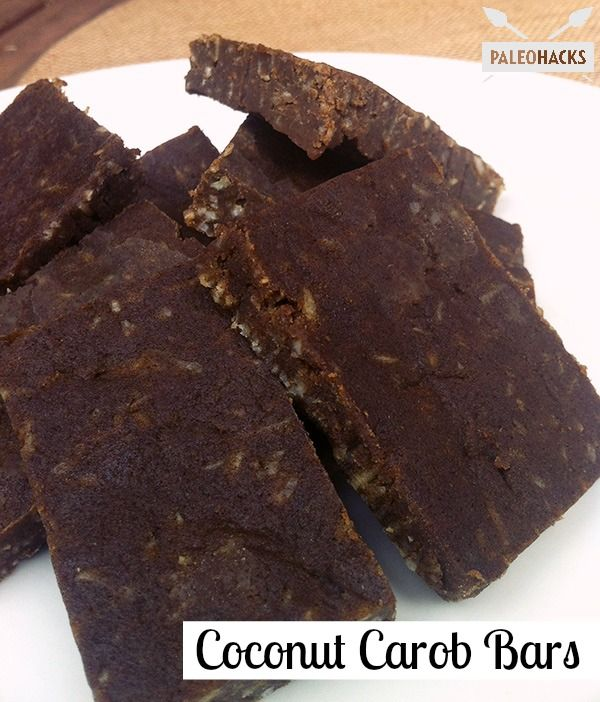 Recipe for delicious Coconut Carob Bars. Healthy and satisfying!