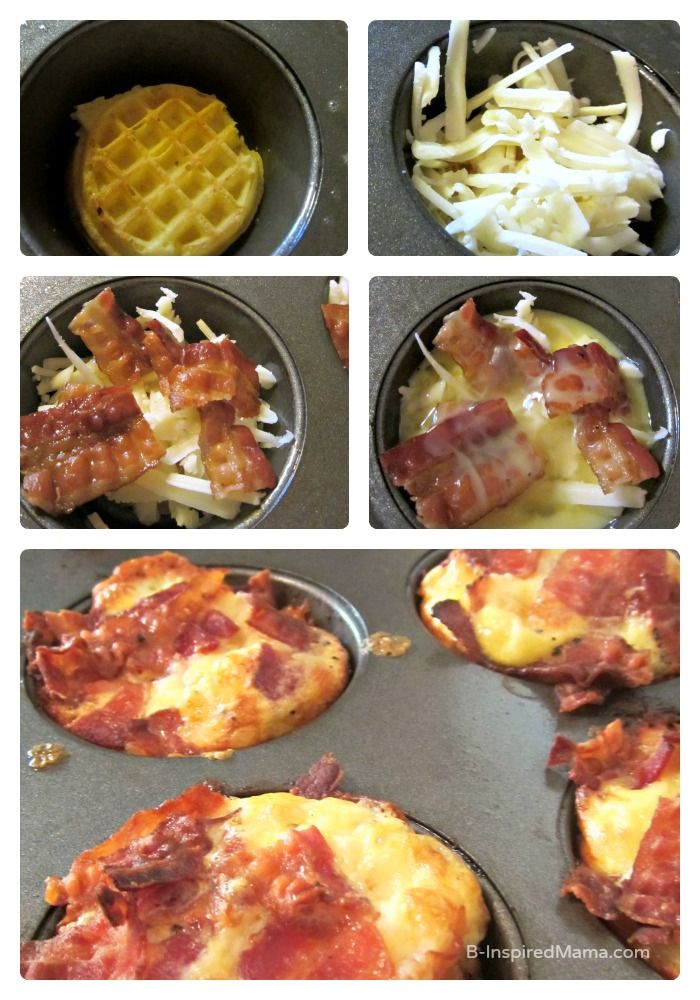 Easy Bacon and Eggs Breakfast Muffins with a Waffle Crust - Yummy for a Quick Dinner, Too!  B-Inspired Mama