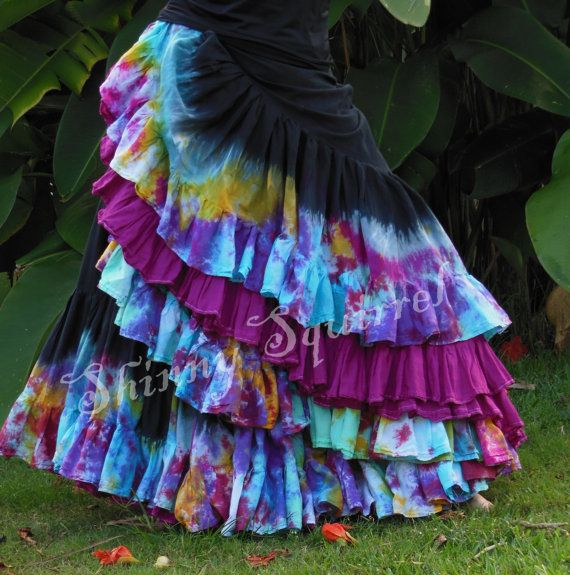 Hey, I found this really awesome Etsy listing at https://www.etsy.com/listing/188789413/stepped-in-a-rainbow-25-yard-skirt
