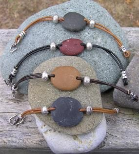 sterling silver, Greek leather, and Cape Cod beach stones                                                                                                                                                                                 Más