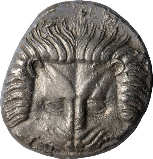 Ionia, Samos, Tetradrachm, 400-365 BC  14.55g. Barren Class X, Barren-. Obverse: Facing lion's head. Reverse: Unpublished magistrate MAKAPEOΣ. ΣΑ is in larger letters below right facing bull's forepart, small OYP below hoofs, vertical branch behind. This die has a panther-head symbol. A sharply impressed coin, both obverse and reverse, with an unpublished magistrate's name, making this coin unique in a minor way. About Extremely Fine    Estimate: US$12,000 - 15,000