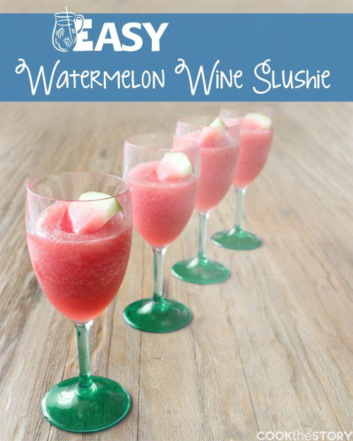 An Easy Watermelon and Lemon Wine Slush Recipe. Get this refreshing drink recipe and more from www.cookthestory.com #drinks #recipes