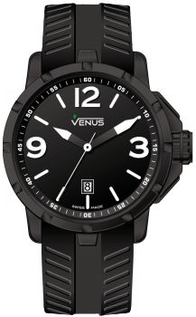 Matt black with white super luminous Arabic numerals and indexes Strap: Anti-allergic, black rubber Water Resistance: 100 meters (330 feet)