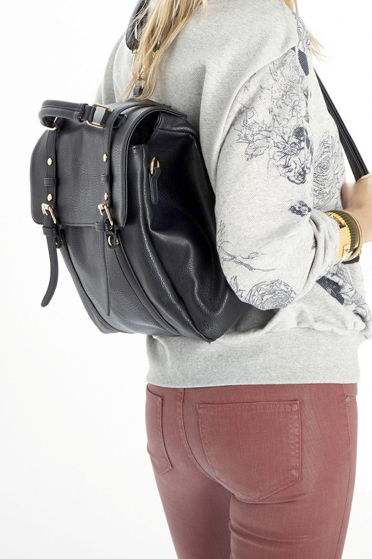 Black convertible backpack that can also be worn as a shoulder bag or top handle tote