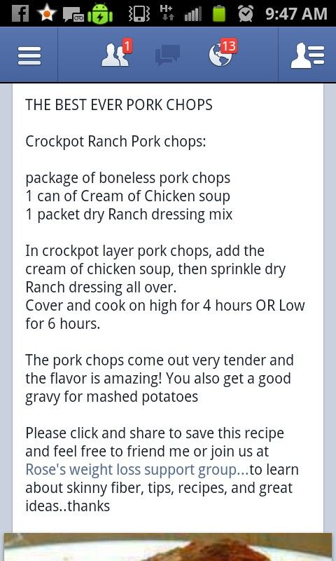 Crock Pot Ranch Pork chops Love anything in the crock pot!  made with dry ranch dressing and soup