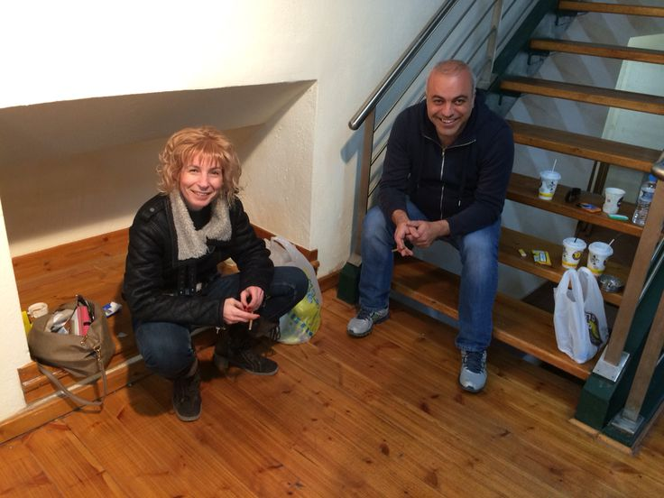 At the end of a 9- hours -preparation - marathon for our exhibition.
