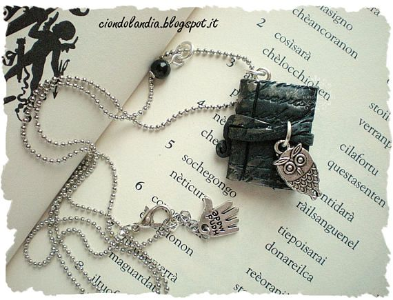 Ancient magic book with owl necklace polymer clay #book #necklace #magic #owl #harrypotter
