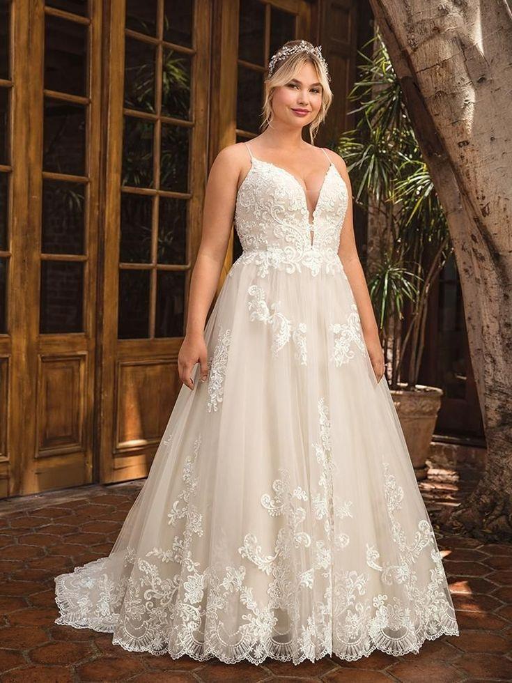 Casablanca Beloved BL286 Delilah Lace V Neck Ball Gown