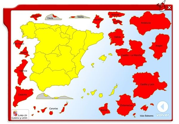 """""""Coloca las Comunidades Autónomas"""", de la Junta de Castilla y León, es un sencillo juego que trata de que los niños se familiaricen con los nombres y situación de las Comunidades Autónomas Españolas."""