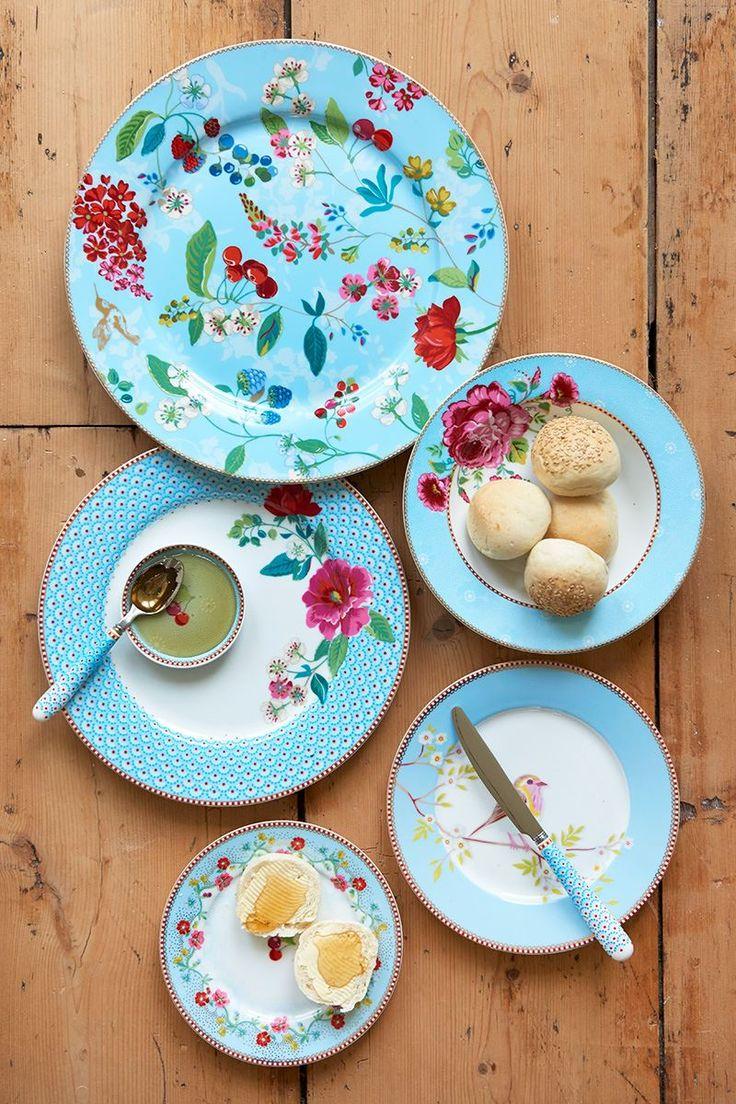 Floral breakfast plate Early Bird 21 cm Blue