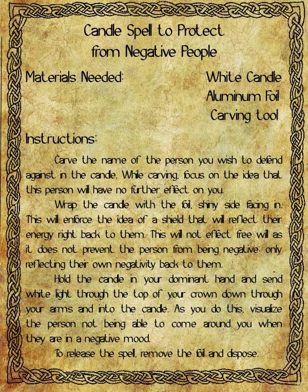 candle spell to protect from negative people