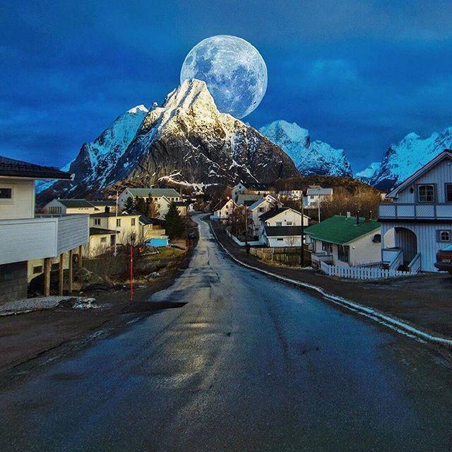 Full moon night in Reine, Lofoten. Norway. ... Photo by @kyrenian #nature