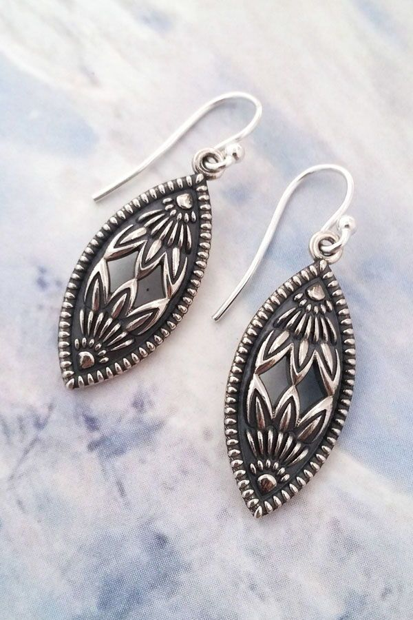 e51ef0edc Protea Marquise Earrings by Christine Alaniz Designs. These are oxidized  sterling silver earrings with a botanical influence from the King Protea  flower.