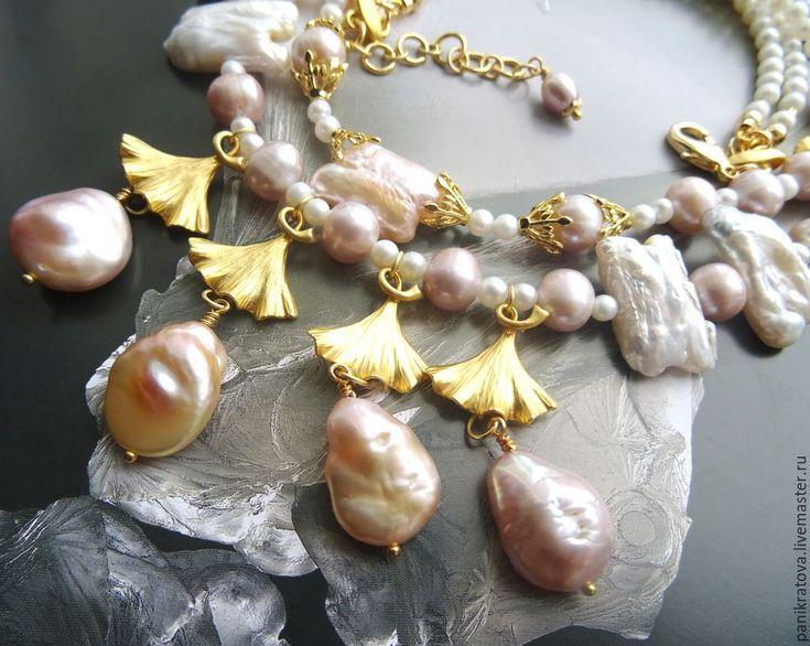 """Купить Колье """"Жемчужный сад"""" (жемчуг барроко, жемчуг морской) - белый, лавандовый, персиковый"""