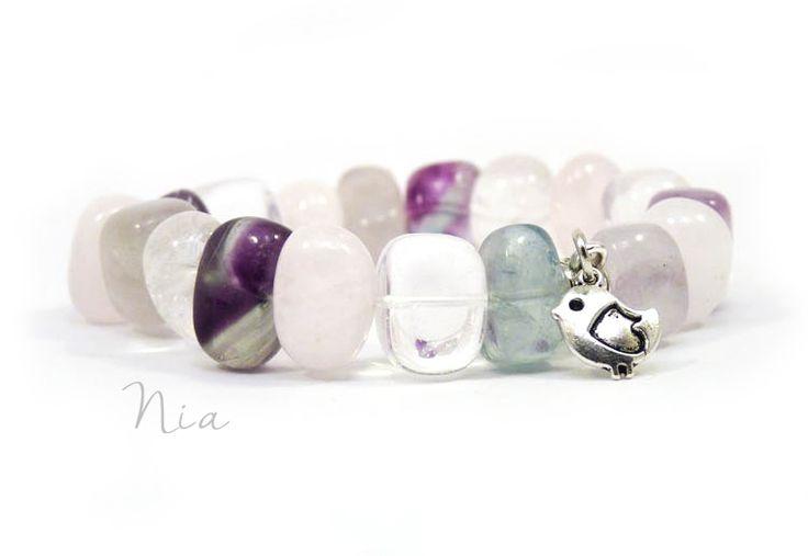 Fluorite gemstone bracelet with little bird charm ♥ #niaékszer #ásványékszer