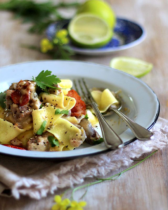 Pappardelle with lemon and lamb