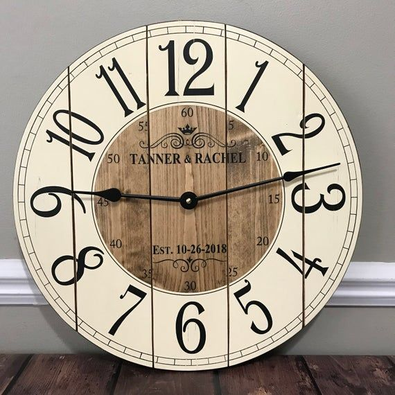 12 Inch Wooden Farmhouse Clock Arabic Numbers Rustic Wall Clock Small Wall Clock Personalized Clock Distressed Clock Allyssa In 2020 Farmhouse Clocks Rustic Wall Clocks Clock