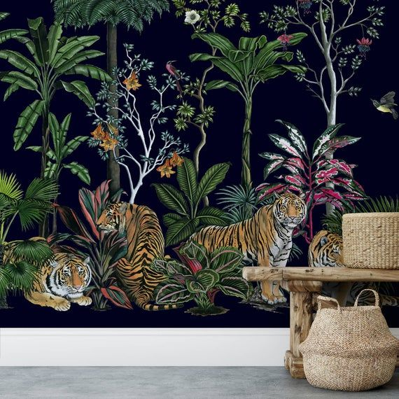 Tiger Summer Botanical Removable Wallpaper Wall Mural