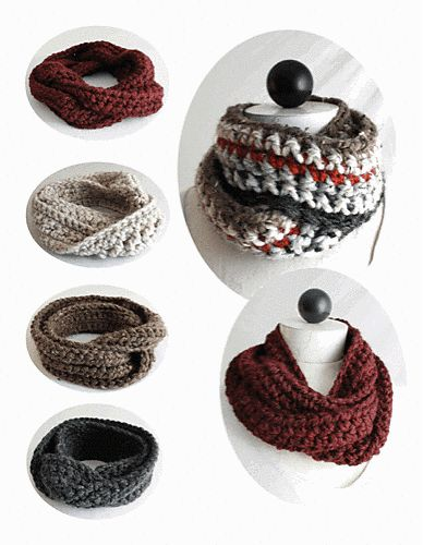 30-Minute Infinity Scarves pattern by Maggie Weldon. Now I have to learn how to crochet