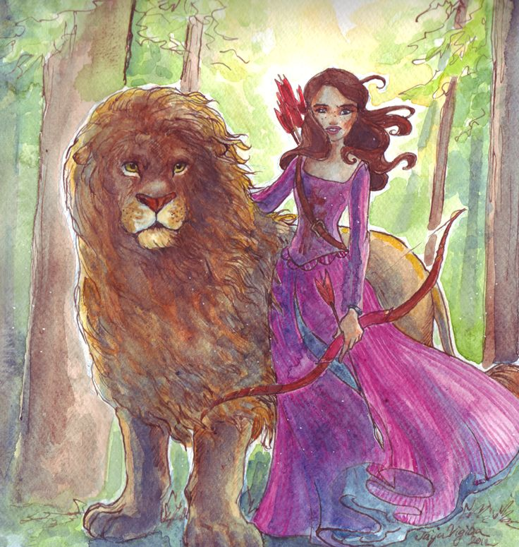 The Lion and the warrior  by ~TaijaVigilia  Susan Pevensie and Aslan of Narnia.