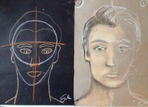 Teaching Face Proportions in Dry Pastell Creating your own character