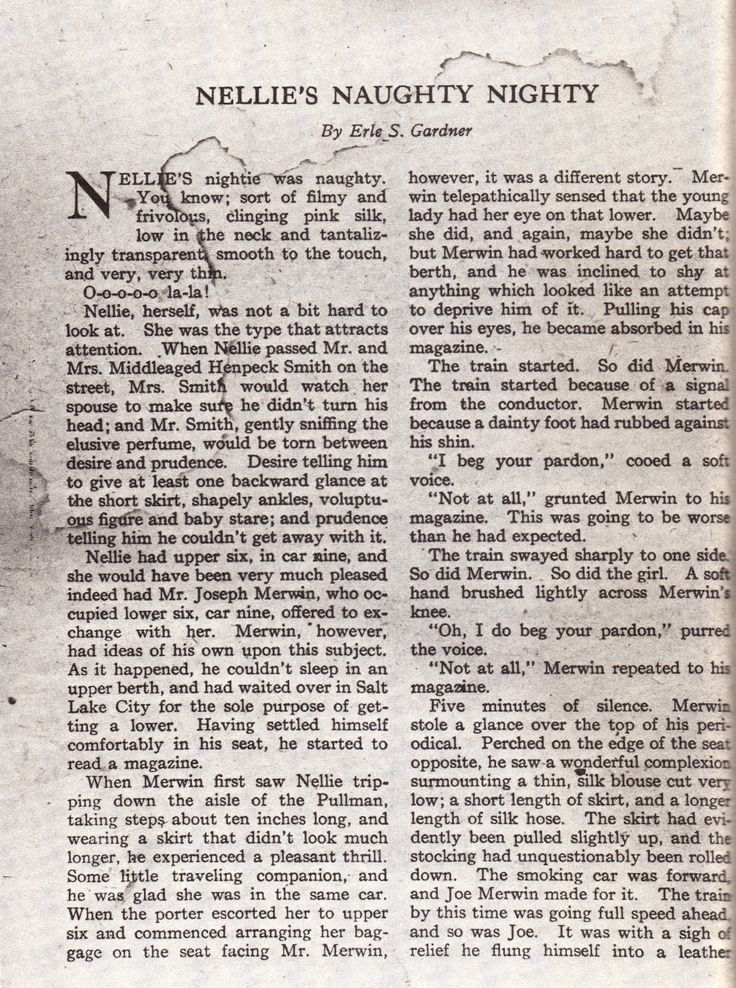 The first page of Erle Stanley Gardner's first published story - Nellie's Naughty Nighty, appearing in Breezy Stories, August 1921.