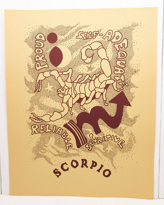 Vintage Zodiac Illustrated Print Scorpio