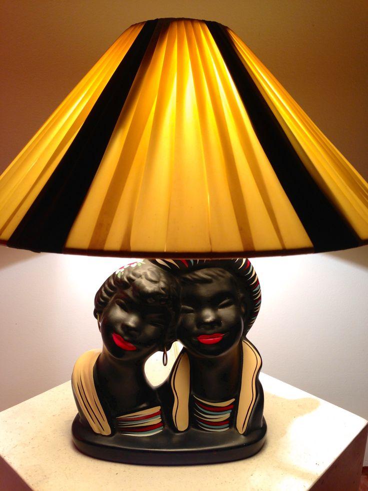 Barsony Calypso Twins FL45 George Barsony Retro Black Lamp 1950s