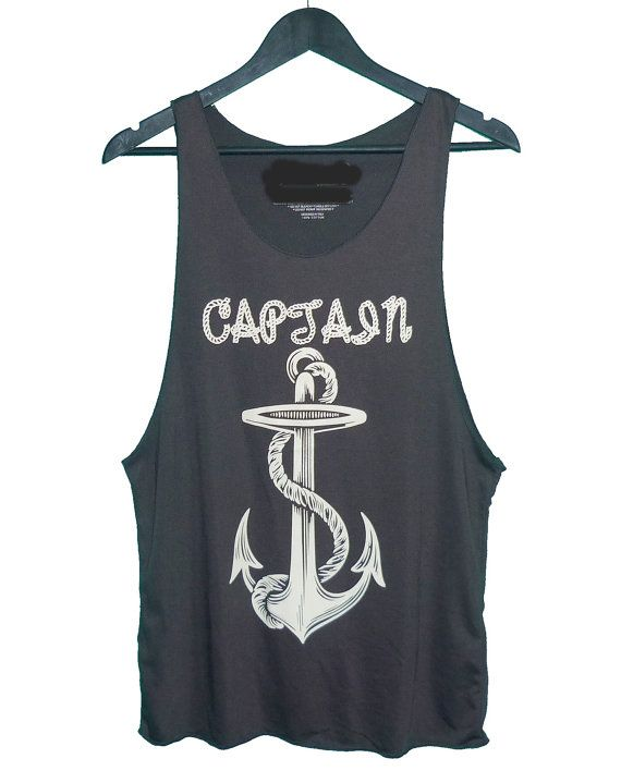 Anchor tank top cut off shirt black tee size M one by TuesdayTee